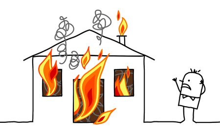 house fire: hand drawn cartoon character - man with house & fire Stock Photo