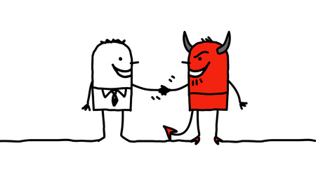 pact: hand drawn cartoon characters - man making a pact with the devil