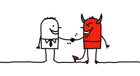 pacto: personajes de dibujos animados dibujados a mano - hombre que hace un pacto con el diablo