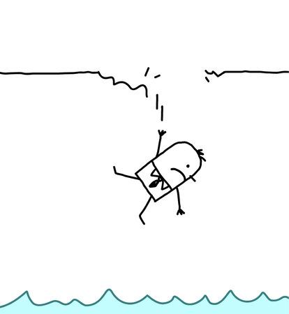 hombre cayendo: personajes de dibujos animados dibujados a mano - hombre que cae