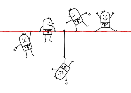 hand drawn cartoon characters - businessmen on a wire