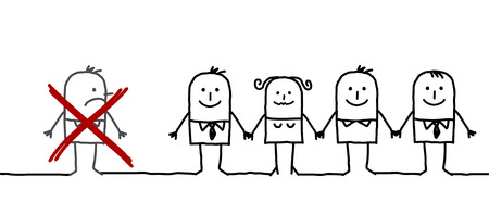 excluded: hand drawn cartoon characters - united group & excluded man
