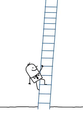 hand drawn cartoon characters - businessman climbing up
