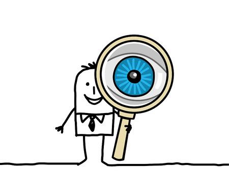 hand drawn cartoon characters - big eye and magnifying glass
