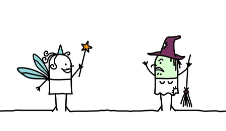 imaginary line: Fairy & Wich - hand drawn cartoon characters