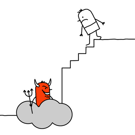 devil cartoon: hand drawn cartoon characters - going down to hell