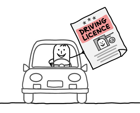 hand drawn cartoon characters - man & driving licence Stok Fotoğraf