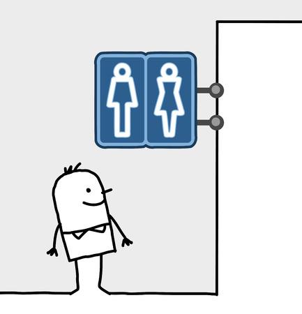 shop sign: hand drawn cartoon characters - consumer & shop sign - toilets