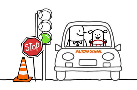 driving school: hand drawn cartoon characters - driving school