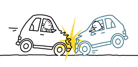 hand drawn cartoon: hand drawn cartoon characters - car crash