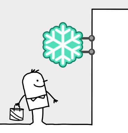 frozen food: hand drawn cartoon characters - consumer & shop sign - frozen food