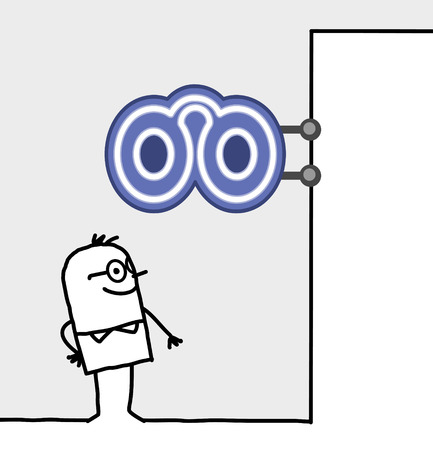 shop sign: hand drawn cartoon characters - consumer & shop sign - optician