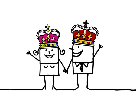 king of kings: Queen  King - hand drawn cartoon characters Stock Photo