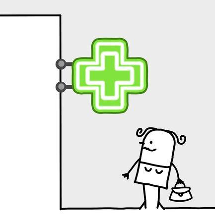 consumer: hand drawn cartoon characters - consumer & shop sign - pharmacy
