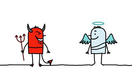 duality: Devil & Angel - hand drawn cartoon characters Stock Photo