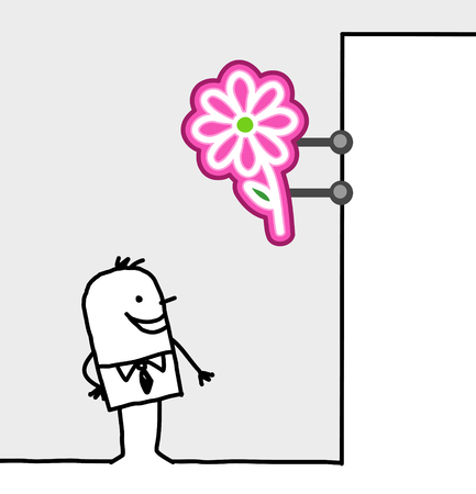 consumer: hand drawn cartoon characters - consumer & shop sign - flowers