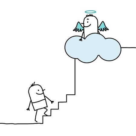 subir escaleras: personajes de dibujos animados dibujados a mano - subiendo al cielo Foto de archivo