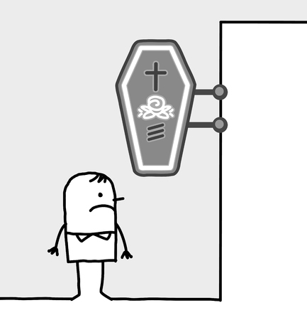 hand getrokken beeldverhaalkarakters - de consument & winkel - begrafenisondernemer Stockfoto