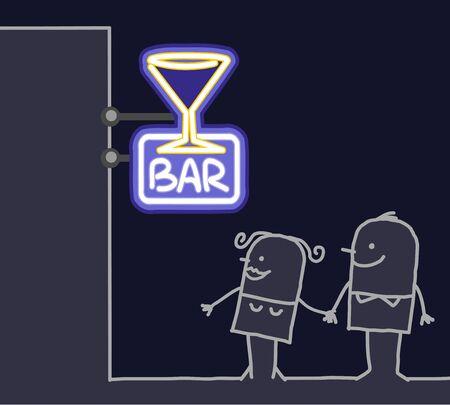 tonight: hand drawn cartoon characters - couple & shop sign - bar Stock Photo