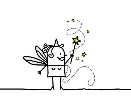 girl magic wand: Fairy & magic wand - hand drawn cartoon character & stars