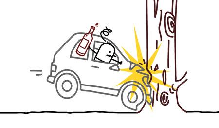 drunk driving: hand drawn cartoon characters - drunk man & car crash