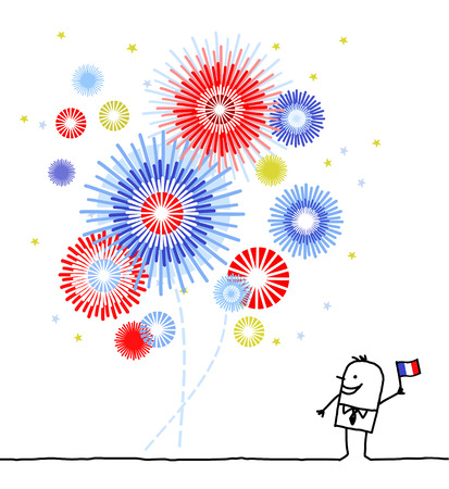 blue and white: hand drawn cartoon characters - firework & national day