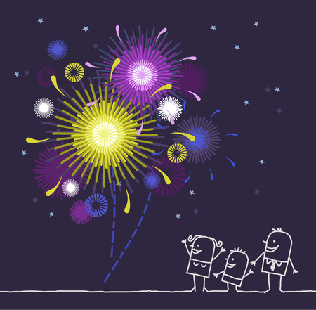 hand drawn cartoon characters - family & firework