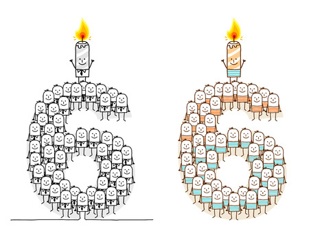 crowd happy people: hand drawn cartoon characters - birthday candle 6 Stock Photo