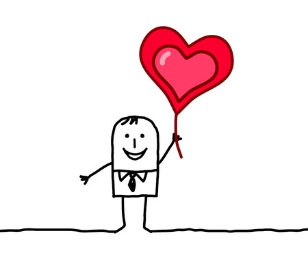 i love you symbol: hand drawn cartoon characters - lover and heart