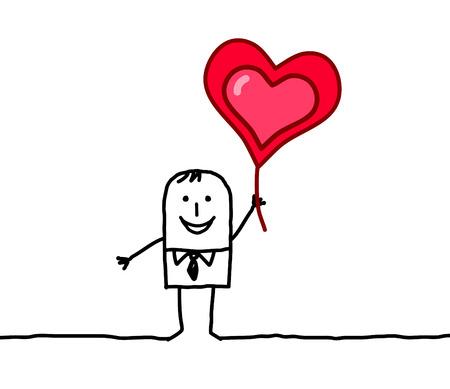te amo: personajes de dibujos animados dibujados a mano - amante y coraz�n