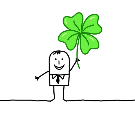 hand drawn cartoon characters - man with clover