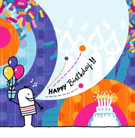 persona alegre: dibujado a mano de dibujos animados y la tarjeta de felicitaci�n - cumplea�os Foto de archivo