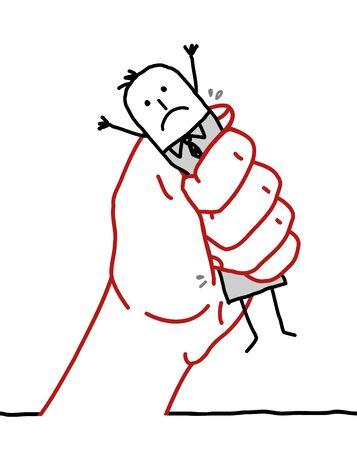 lay off: big hand and cartoon businessman - under pressure Stock Photo