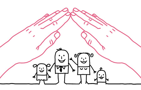 mutual aid: big hands and cartoon family - roof Stock Photo