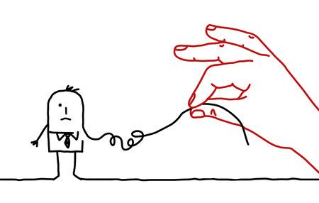 大きな手とアニメのビジネスマン - 分解します。 写真素材