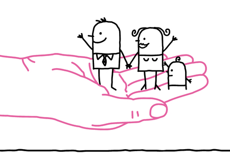 mutual help: big hand and cartoon family - kindness Stock Photo
