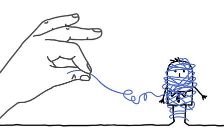 grote hand en cartoon zakenman - ontknoping