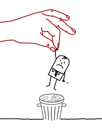 desprecio: gran mano y hombre de negocios de dibujos animados - bote de basura Foto de archivo