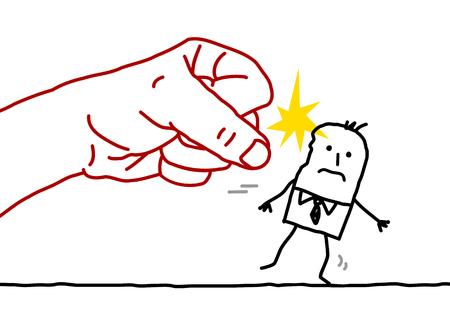 agression: big hand and cartoon businessman - agression Stock Photo