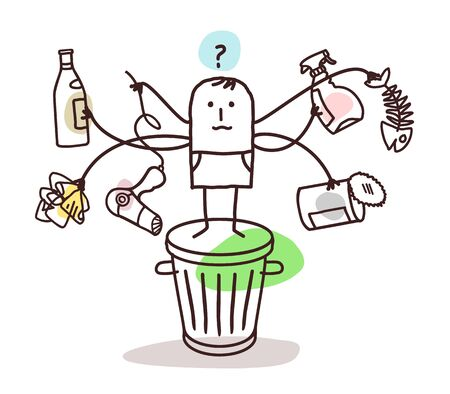 overwhelmed: man who sorts the trash Stock Photo