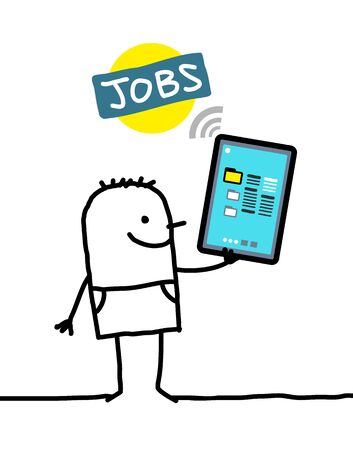 jobs: cartoon character with tablet - jobs Stock Photo
