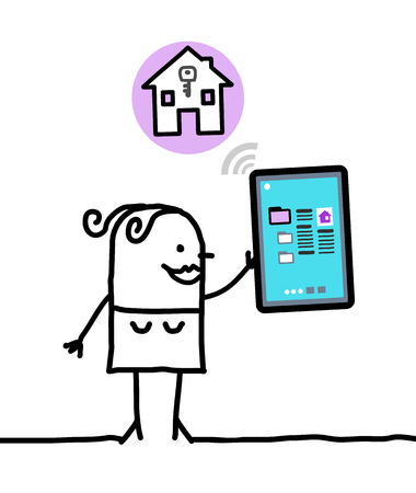 housing: cartoon character with tablet - housing