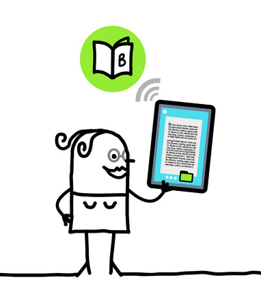 trait: cartoon character with tablet - book