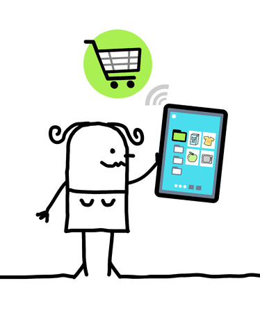 trait: cartoon character with tablet - shopping