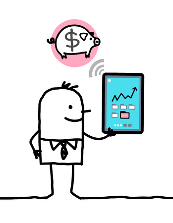 trait: cartoon character with tablet - bank