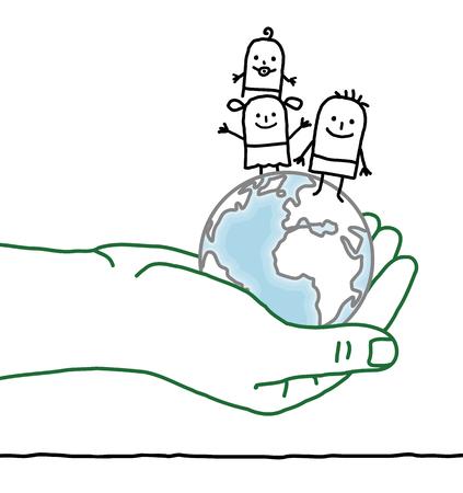 trait: big hand and cartoon characters - kids on Earth