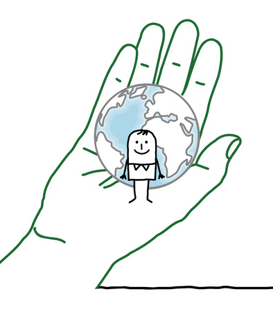 big hand and cartoon character - Earth and man Stock Photo