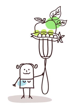 포크 - 야채와 만화 캐릭터