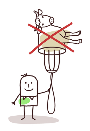 boycott: cartoon character with fork - no meat