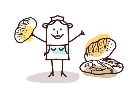 craftsperson: cartoon food retailer - baker and bread